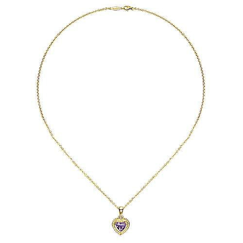 14k Yellow Gold Secret Garden Heart Necklace angle 2
