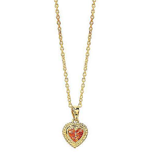14k Yellow Gold Secret Garden Heart Necklace angle 1