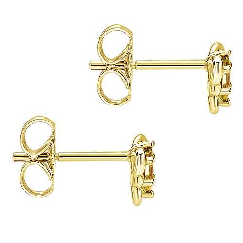 14k Yellow Gold Secret Garden Stud Earrings angle 3