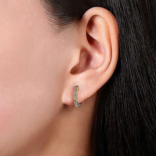 14k Yellow Gold Segmented Diamond Huggie Earrings angle 2