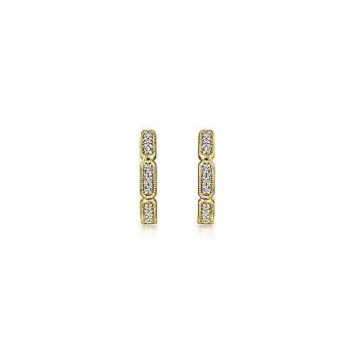 14k Yellow Gold Segmented Diamond Huggie Earrings angle 3