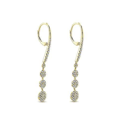 14k Yellow Gold Silk Drop Earrings angle 2