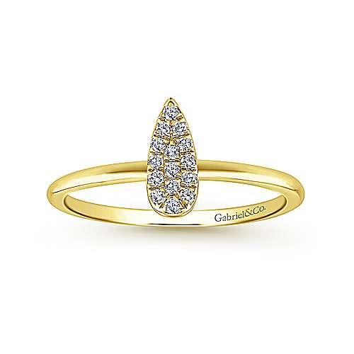 14k Yellow Gold Silk Midi Ladies' Ring angle 4