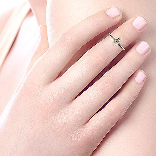 14k Yellow Gold Silk Midi Ladies' Ring angle 5