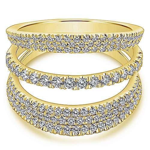 Gabriel - 14k Yellow Gold Silk Wide Band Ladies' Ring