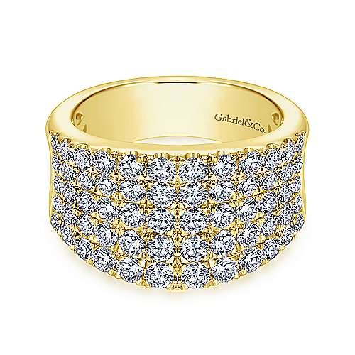 Gabriel - 14k Yellow Gold Silk Wide Band Ladies' Ring