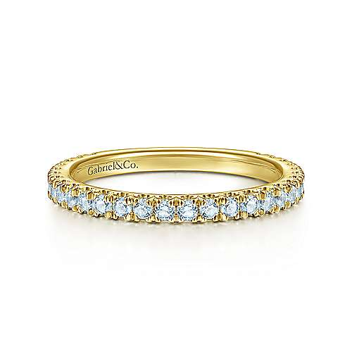 14k Yellow Gold Sky Blue Topaz Stackable