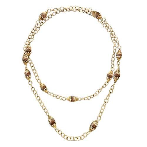 14k Yellow Gold Smoky Quartz Diamond By The Yard Necklace angle 2