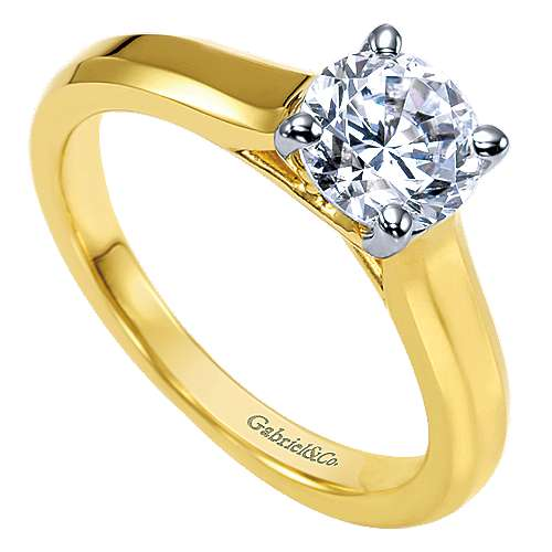 14k Yellow Gold Solitaire Engagement Ring angle 3
