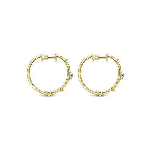14k Yellow Gold Souviens Classic Hoop Earrings angle 2
