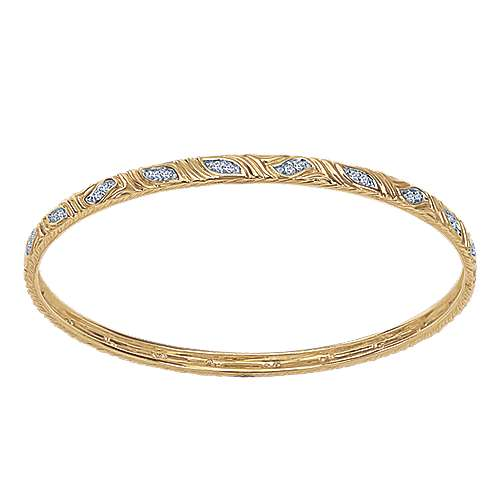 14k Yellow Gold Stackable Bangle angle 1
