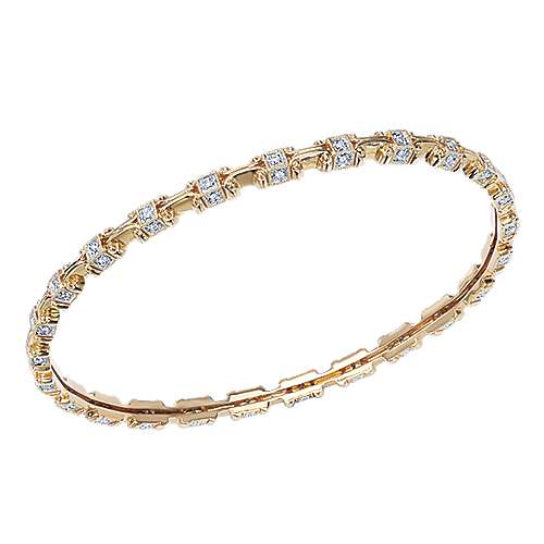 14k Yellow Gold Stackable Bangle angle 2