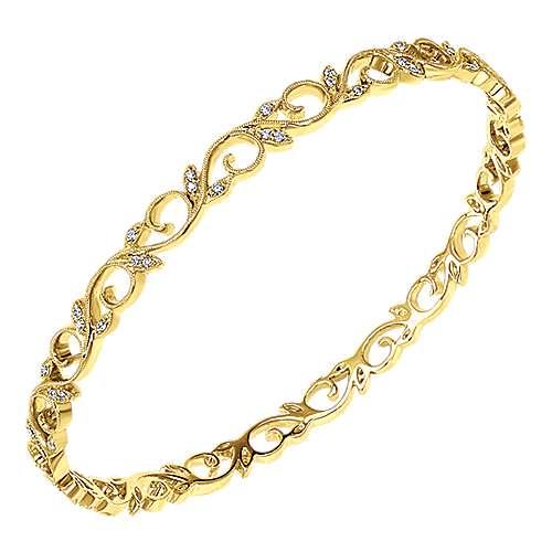 14k Yellow Gold Stackable Bangle angle 2
