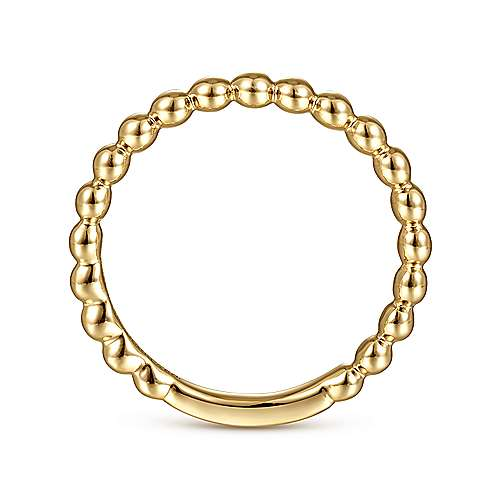 14k Yellow Gold Stackable Beaded Ladies Ring angle 2