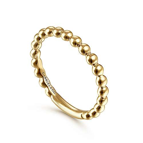 14k Yellow Gold Stackable Beaded Ladies Ring angle 3