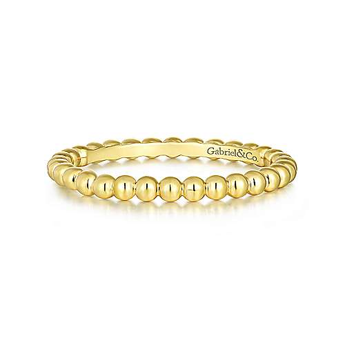 14k Yellow Gold Stackable Eternity Stackable Ladies' Ring angle 1