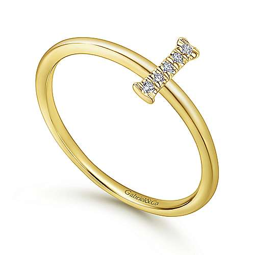14k Yellow Gold Stackable Initial Ladies