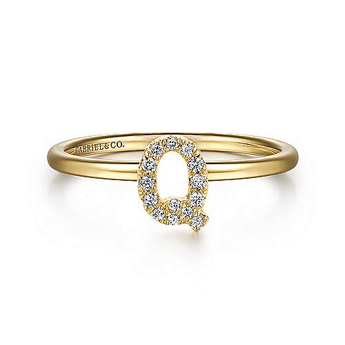 Gabriel - 14k Yellow Gold Stackable Initial Ladies' Ring