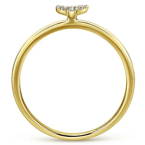 14k Yellow Gold Stackable Initial Ladies' Ring angle 2