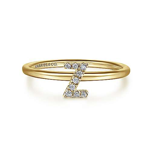 14k Yellow Gold Stackable Initial Ladies' Ring angle 1