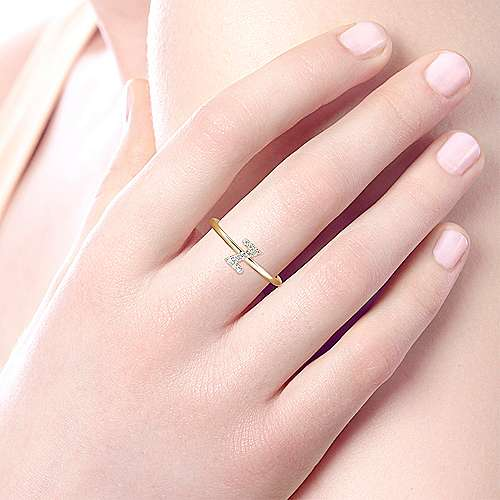 14k Yellow Gold Stackable Initial Ladies' Ring angle 5