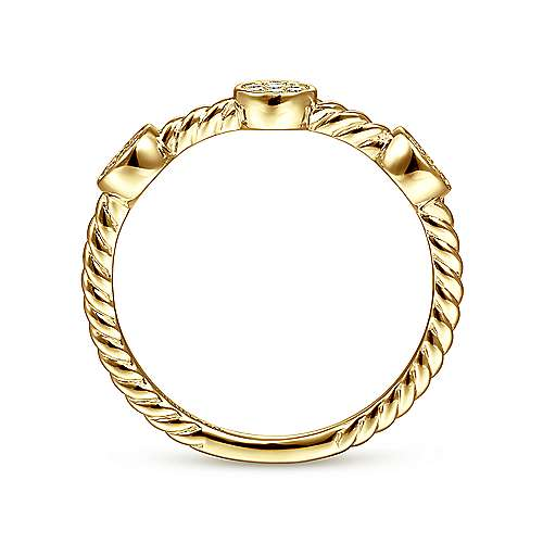 14k Yellow Gold Stackable Ladies' Ring angle 2