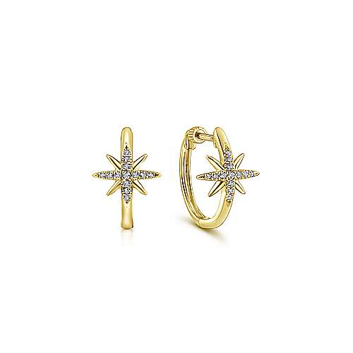 14k Yellow Gold Starlis Classic Hoop Earrings angle 1