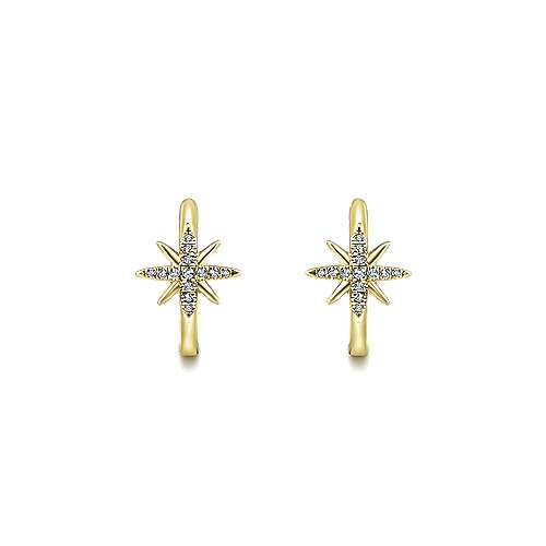 14k Yellow Gold Starlis Classic Hoop Earrings angle 3