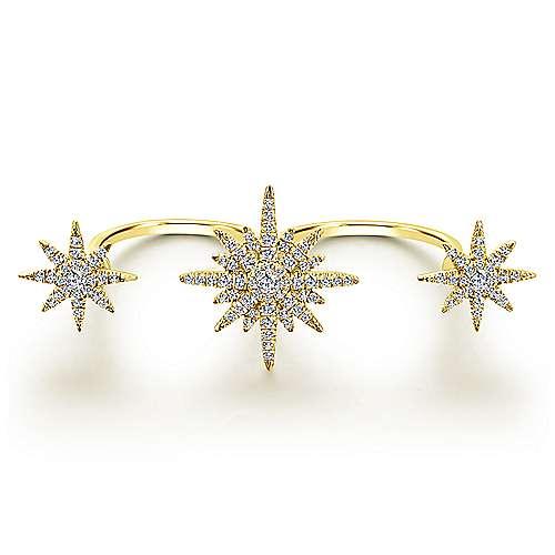 Gabriel - 14k Yellow Gold Starlis Double Ring Ladies' Ring