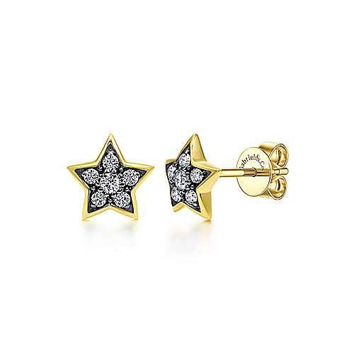 14k Yellow Gold Starlis Stud Earrings angle 1