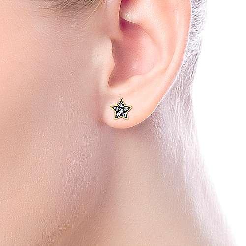 14k Yellow Gold Starlis Stud Earrings angle 2