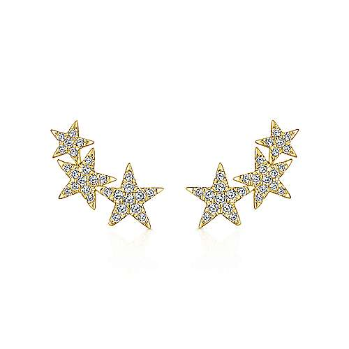 14k Yellow Gold Starlis Stud Earrings