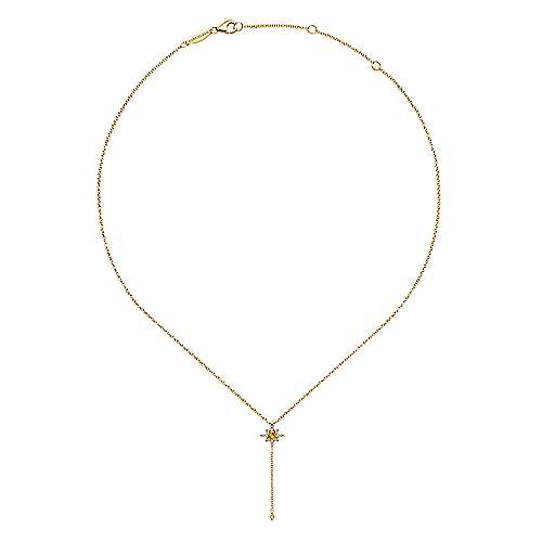 14k Yellow Gold Starlis Y Knots Necklace angle 2