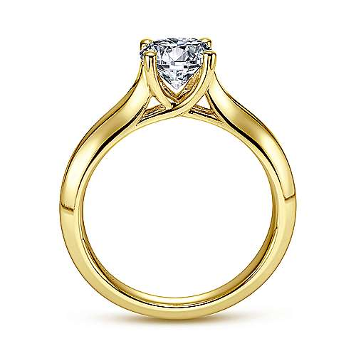 14k Yellow Gold Straight Engagement Ring angle 2
