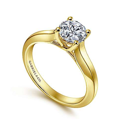 14k Yellow Gold Straight Engagement Ring angle 3
