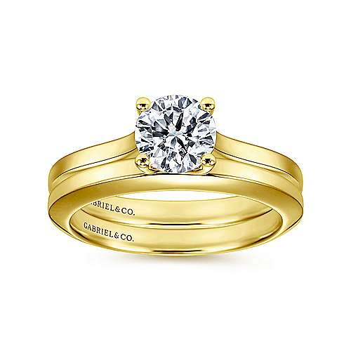 14k Yellow Gold Straight Engagement Ring angle 4
