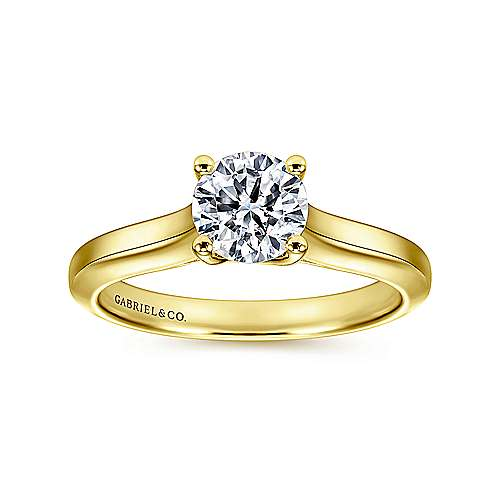 14k Yellow Gold Straight Engagement Ring angle 5