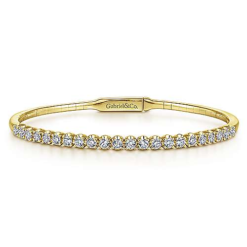 Gabriel - 14k Yellow Gold Straight Round Diamond Bangle Bracelet