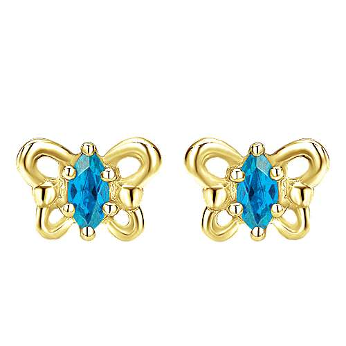 Gabriel - 14k Yellow Gold Swiss Blue Topaz Butterly Stud Earrings