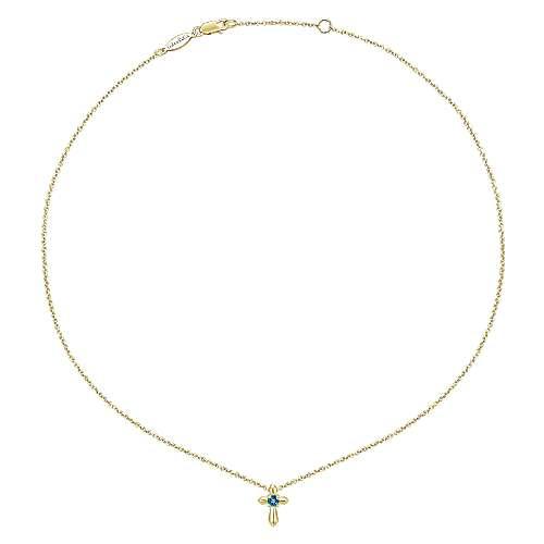 14k Yellow Gold Swiss Blue Topaz Fashion Necklace angle 2