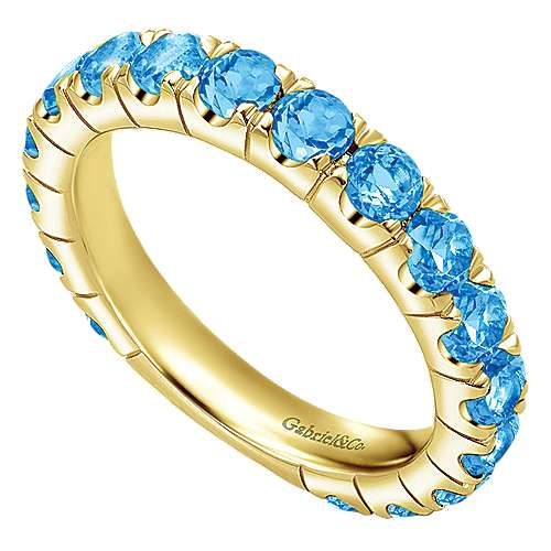 14k Yellow Gold Swiss Blue Topaz Stackable Ladies