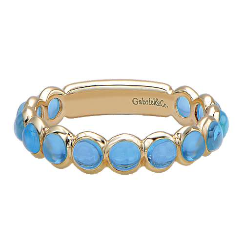 14k Yellow Gold Swiss Blue Topaz Stackable