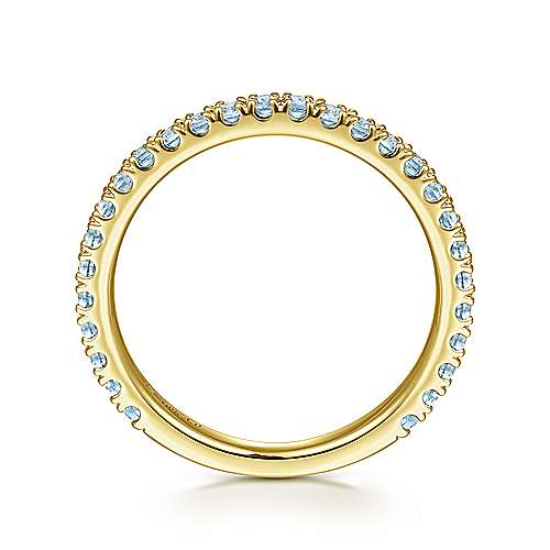 14k Yellow Gold Swiss Blue Topaz Stackable Ladies