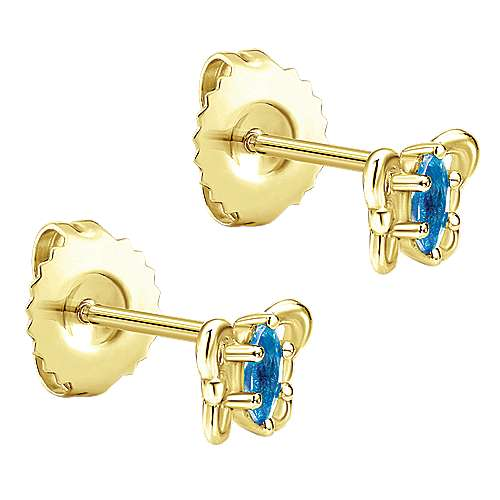 14k Yellow Gold Swiss Blue Topaz Stud Earrings angle 2