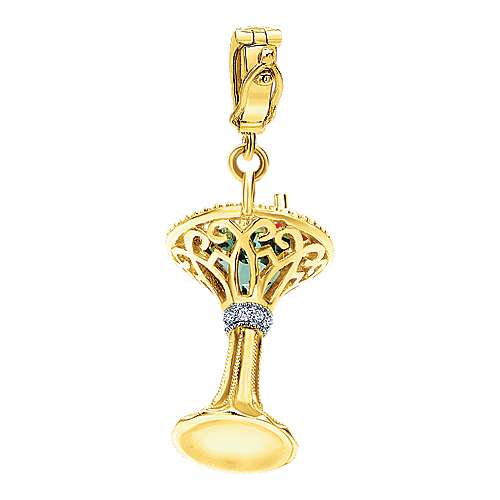 14k Yellow Gold Treasure Chests Charm Pendant angle 2