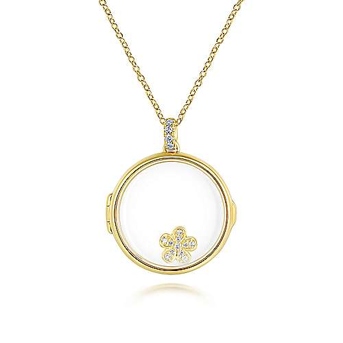 14k Yellow Gold Treasure Chests Locket Necklace angle 2