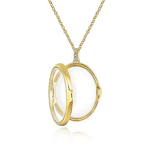 14k Yellow Gold Treasure Chests Locket Necklace angle 3