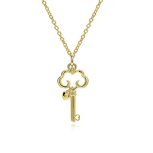 14k Yellow Gold Trends Charm Pendant angle 2