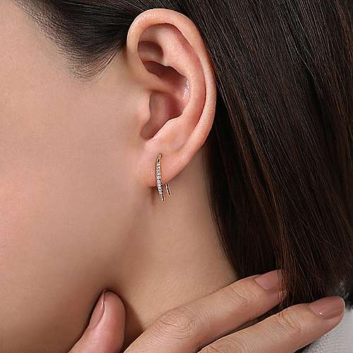 14k Yellow Gold Trends Earcuffs Earrings angle 2