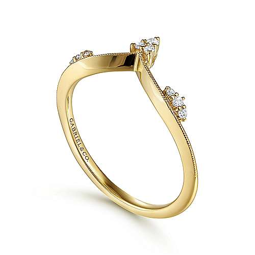 14k Yellow Gold Trends Fashion Ladies' Ring angle 3